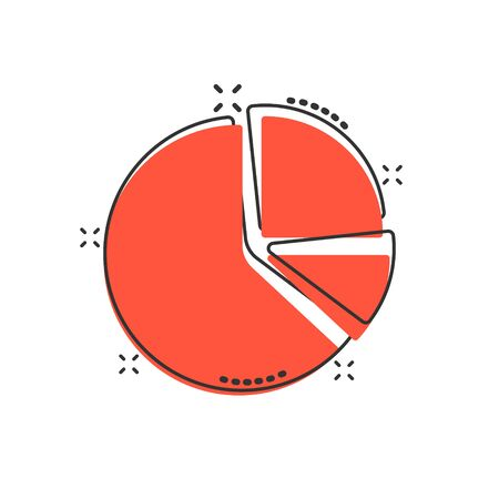 Chart icon in comic style. Diagram cartoon vector illustration on white isolated background. Statistics splash effect business concept.