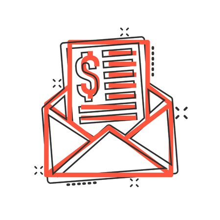 Envelope with money icon in comic style. E-mail cash cartoon vector illustration on white isolated background. Finance message splash effect business concept.