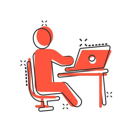 People with laptop computer icon in comic style. Pc user cartoon vector illustration on white isolated background. Office manager splash effect business concept. Illustration