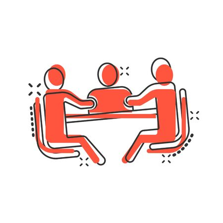 People with table icon in comic style. Teamwork conference cartoon vector illustration on white isolated background. Speaker dialog splash effect business concept.