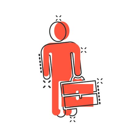 Businessman with briefcase icon in comic style. People manager cartoon vector illustration on white isolated background. Employee splash effect business concept. Çizim