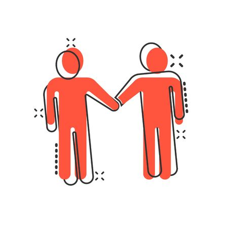 Greetings gesture icon in comic style. People handshake cartoon vector illustration on white isolated background. Hand shake splash effect business concept.