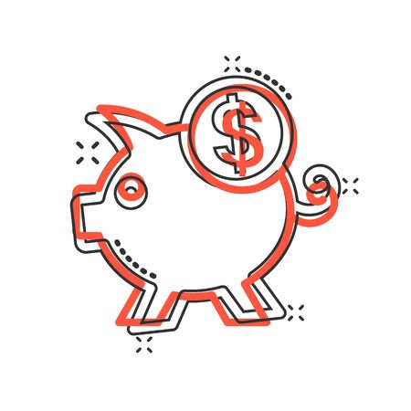 Money box icon in comic style. Pig container cartoon vector illustration on white isolated background. Piggy bank splash effect business concept.