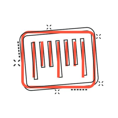 Barcode icon in comic style. Product distribution cartoon vector illustration on white isolated background. Bar code splash effect business concept.