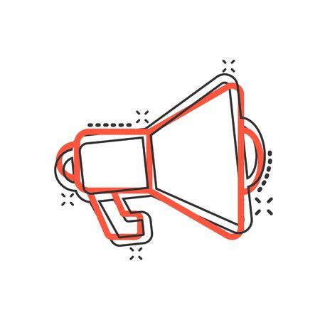 Megaphone speaker icon in comic style. Bullhorn cartoon sign vector illustration on white isolated background. Scream announcement splash effect business concept.