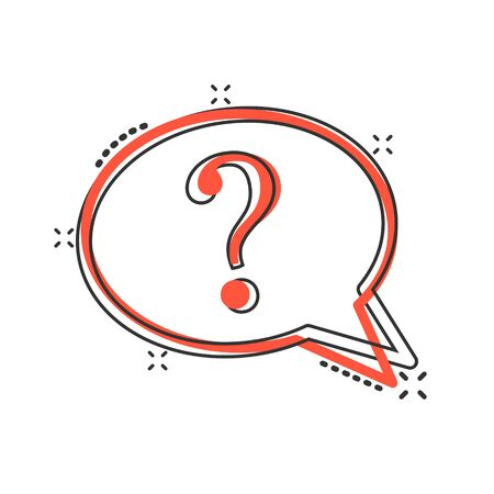 Question mark icon in comic style. Discussion speech bubble cartoon vector illustration on white isolated background. Faq splash effect business concept. Illustration