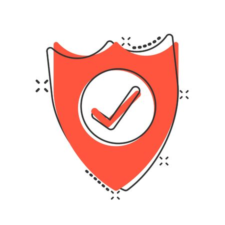 Shield with check mark icon in comic style. Protect cartoon vector illustration on white isolated background. Checkmark guard splash effect business concept.