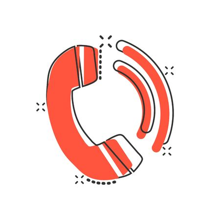 Phone icon in comic style. Telephone call cartoon vector illustration on white isolated background. Mobile hotline splash effect business concept.