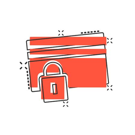 Credit card protection icon in comic style. Safe shopping cartoon vector illustration on white isolated background. Commercial padlock splash effect business concept.