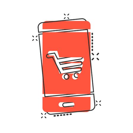 Online shopping icon in comic style. Smartphone store cartoon vector illustration on white isolated background. Market splash effect business concept. Illustration