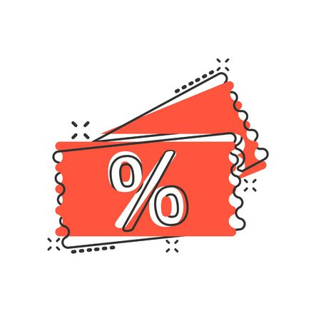 Price coupon icon in comic style. Discount tag cartoon sign vector illustration on white isolated background. Sale sticker splash effect business concept. Illustration