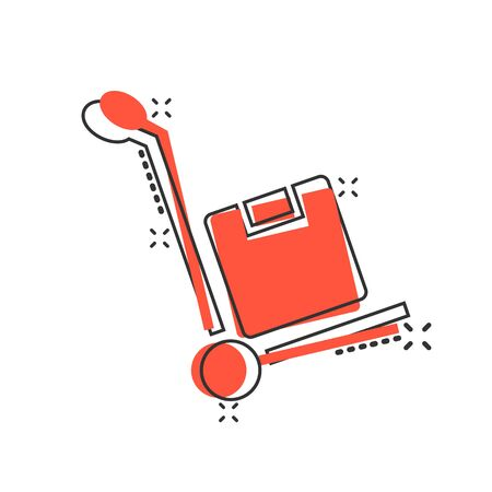 Cargo trolley icon in comic style. Delivery box cartoon vector illustration on white isolated background. Box shipping splash effect business concept.