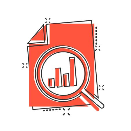 Financial statement icon in comic style. Result cartoon vector illustration on white isolated background. Report splash effect business concept. Illusztráció