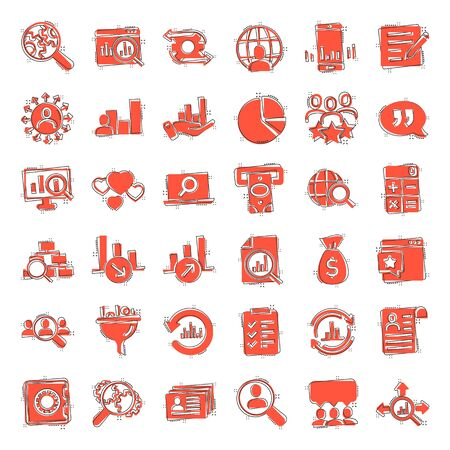 Global money icon set in comic style. Global information cartoon vector illustration on white isolated background. Finance data splash effect business concept.