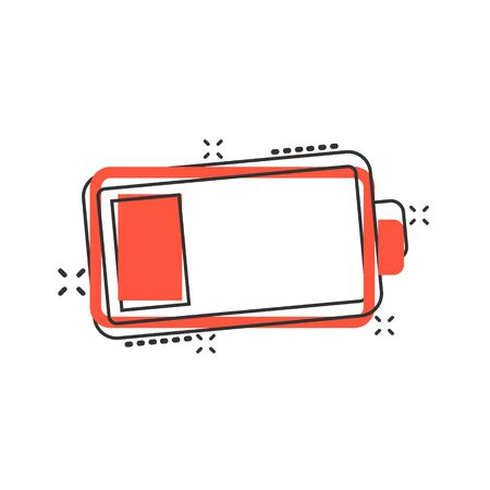 Battery charge icon in comic style. Power level cartoon vector illustration on white isolated background. Lithium accumulator splash effect business concept.