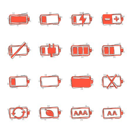 Battery charge icon set in comic style. Power level cartoon vector illustration on white isolated background. Lithium accumulator splash effect business concept.