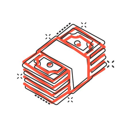 Money stack icon in comic style. Exchange cash cartoon vector illustration on white isolated background. Banknote bill splash effect business concept.