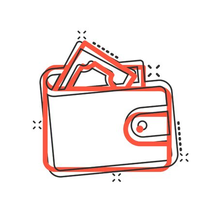 Wallet icon in comic style. Purse cartoon vector illustration on white isolated background. Finance bag splash effect business concept. Vectores