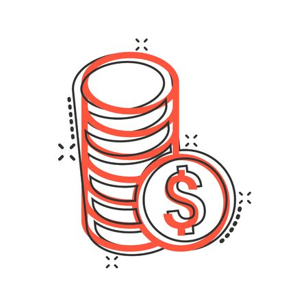 Coins stack icon in comic style. Dollar coin cartoon vector illustration on white isolated background. Money stacked splash effect business concept. Vectores