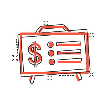 Financial presentation icon in comic style. Money analysis cartoon vector illustration on white isolated background. Marketing chart splash effect business concept.