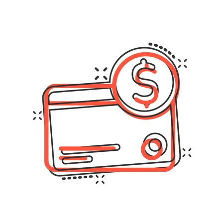 Credit card icon in comic style. Money payment cartoon vector illustration on white isolated background. Financial purchase splash effect business concept.