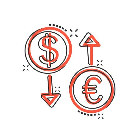 Currency exchange icon in comic style. Dollar euro transfer cartoon vector illustration on white isolated background. Financial process splash effect business concept.