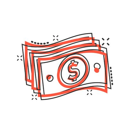 Money stack icon in comic style. Exchange cash cartoon vector illustration on white isolated background. Dollar banknote bill splash effect business concept.