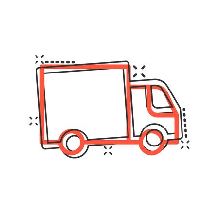 Delivery truck icon in comic style. Van cartoon vector illustration on white isolated background. Cargo car splash effect business concept. Stockfoto - 146968984