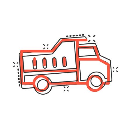 Delivery truck icon in comic style. Van cartoon vector illustration on white isolated background. Cargo car splash effect business concept. Stockfoto - 146968646