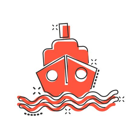 Tourism ship icon in comic style. Fishing boat cartoon vector illustration on white isolated background. Tanker destination splash effect business concept. Vektorové ilustrace