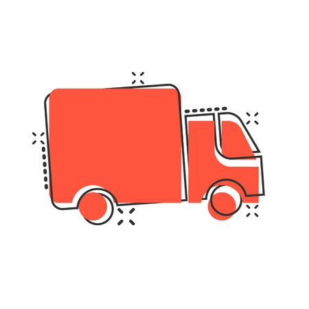 Delivery truck icon in comic style. Van cartoon vector illustration on white isolated background. Cargo car splash effect business concept. Stockfoto - 146982479