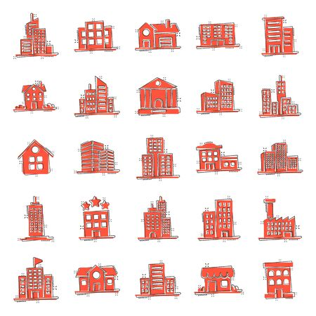 Building icon set in comic style. Town skyscraper apartment cartoon vector illustration on white isolated background. City tower splash effect business concept.