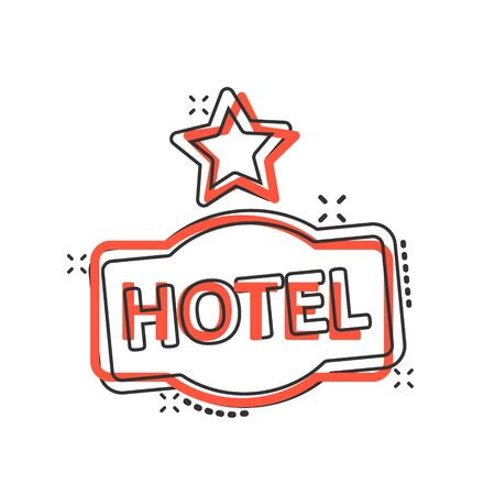 Hotel 1 star sign icon in comic style. Inn cartoon vector illustration on white isolated background. Hostel room information splash effect business concept. Illustration