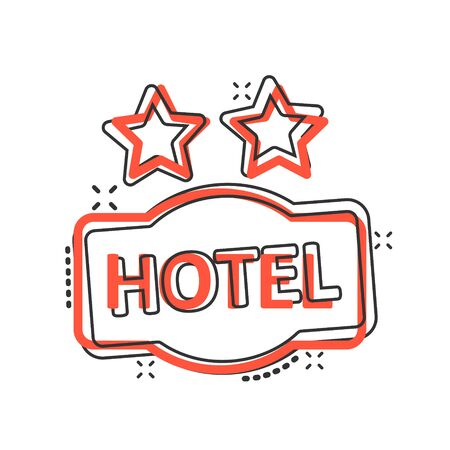 Hotel 2 stars sign icon in comic style. Inn cartoon vector illustration on white isolated background. Hostel room information splash effect business concept.