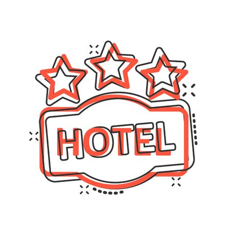 Hotel 3 stars sign icon in comic style. Inn cartoon vector illustration on white isolated background. Hostel room information splash effect business concept.