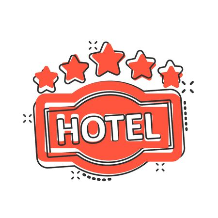 Hotel 5 stars sign icon in comic style. Inn cartoon vector illustration on white isolated background. Hostel room information splash effect business concept.