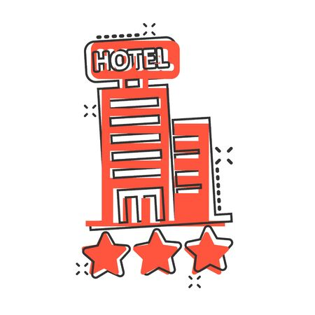 Hotel 3 stars sign icon in comic style. Inn building cartoon vector illustration on white isolated background. Hostel room splash effect business concept.