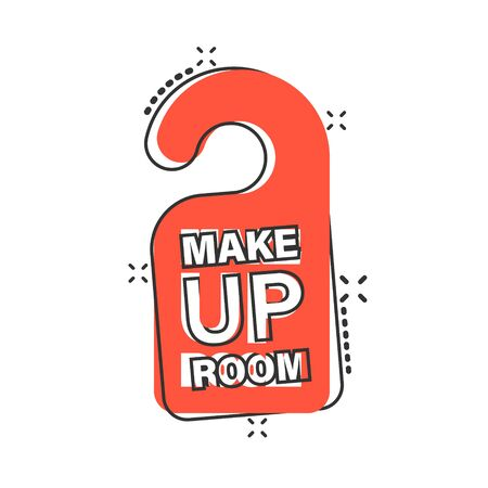 Make up room hotel sign icon in comic style. Inn cartoon vector illustration on white isolated background. Hostel clean splash effect business concept.