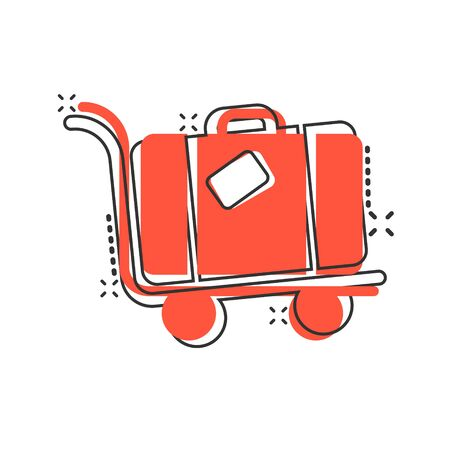 Travel bag icon in comic style. Luggage cartoon vector illustration on white isolated background. Baggage splash effect business concept. Illustration
