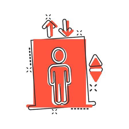 Elevator icon in comic style. Lift cartoon vector illustration on white isolated background. Passenger transportation splash effect business concept.