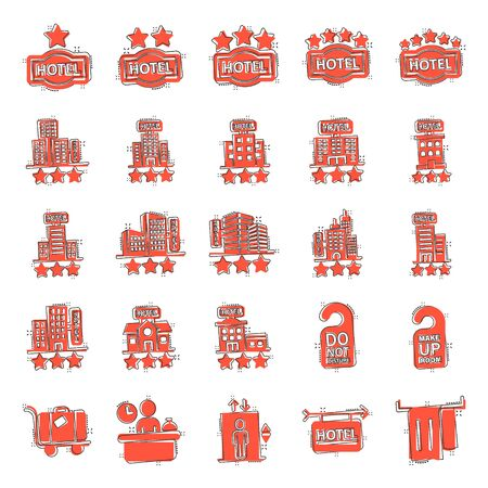 Hotel icon set in comic style. Booking cartoon vector illustration on white isolated background. Vacation reservation splash effect business concept.