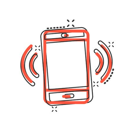 Smartphone blank screen icon in comic style. Mobile phone cartoon vector illustration on white isolated background. Telephone splash effect business concept.