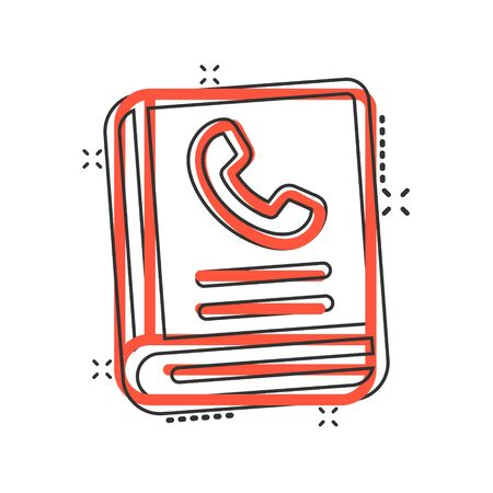 Address phone book icon in comic style. Telephone notebook cartoon vector illustration on white isolated background. Hotline contact splash effect business concept.