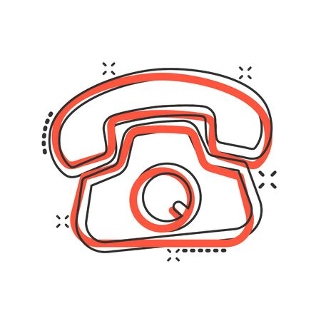 Mobile phone icon in comic style. Telephone talk cartoon vector illustration on white isolated background. Hotline contact splash effect business concept. Illustration