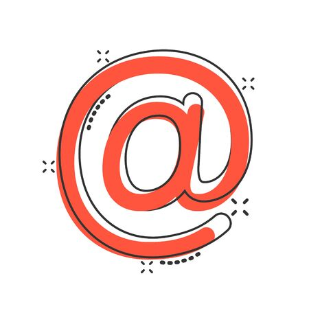 Email message icon in comic style. Mail document cartoon vector illustration on white isolated background. Message splash effect business concept. Illustration