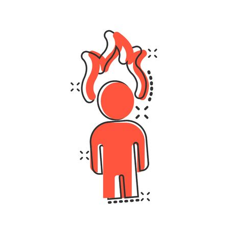 People with flame head icon in comic style. Stress expression cartoon vector illustration on white isolated background. Health problem splash effect business concept.