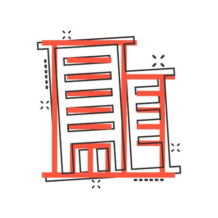 Building icon in comic style. Town skyscraper apartment cartoon vector illustration on white isolated background. City tower splash effect business concept.