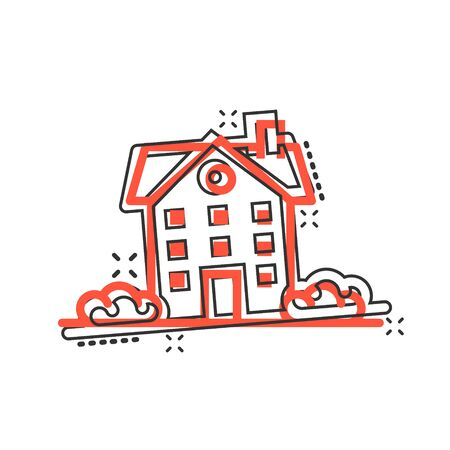 Building icon in comic style. Home cartoon vector illustration on white isolated background. House splash effect business concept.