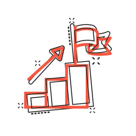 Stair with finish flag icon in comic style. Leadership challenge cartoon vector illustration on white background. Career growth splash effect business concept.
