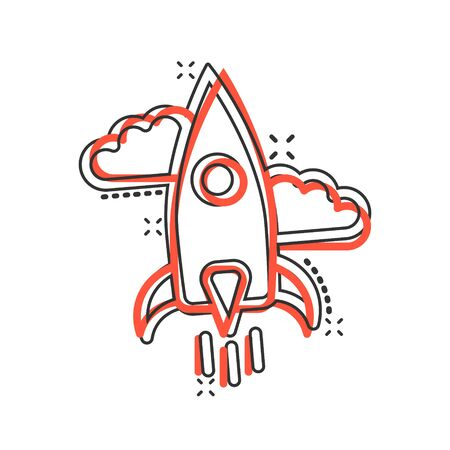 Rocket icon in comic style. Spaceship launch cartoon vector illustration on white isolated background. Sputnik splash effect business concept.